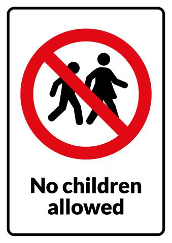 No Children sign template