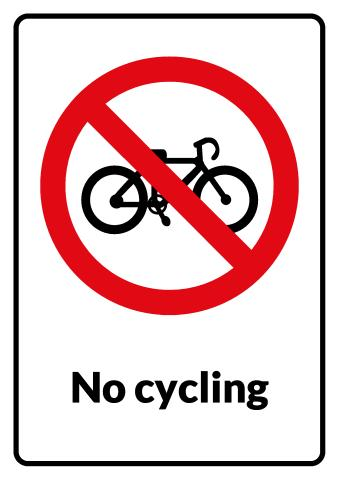 No Cycling sign template
