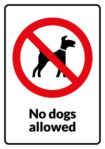 No Dogs sign template