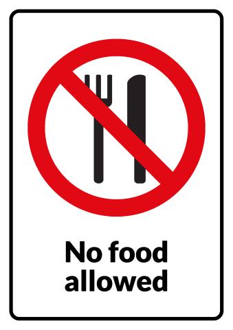 No Eating sign template
