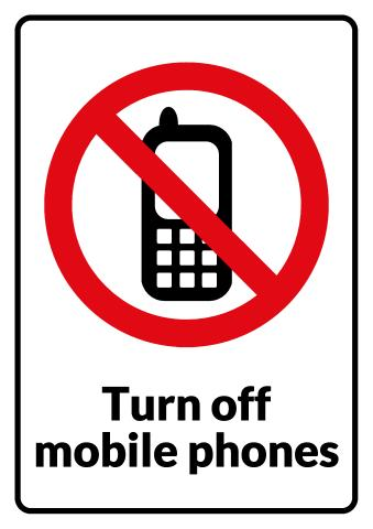 No Mobile Phones sign template