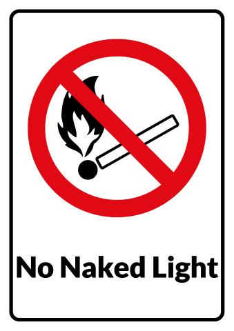 No Naked Light sign template
