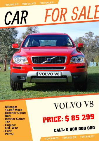 Car For Sale 2 Poster Template  For Sale Poster Template