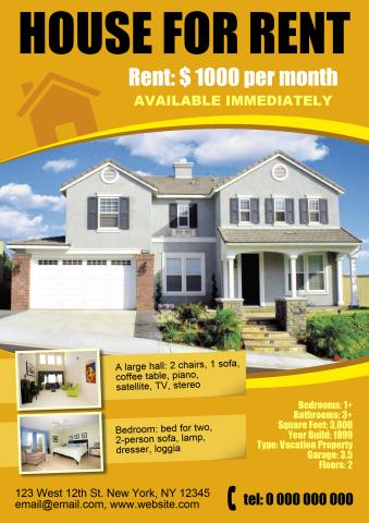 Amazing House For Rent Poster Template  House For Rent Template
