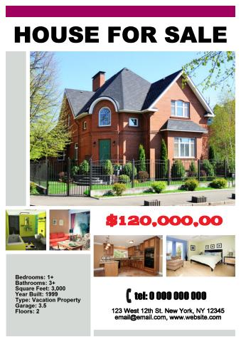 download real estate flyer template house for sale poster